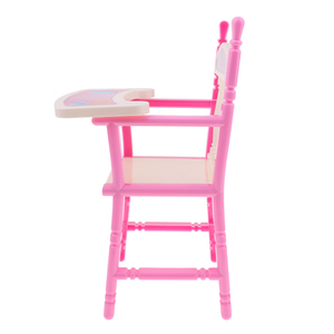 Lovely Reborn Doll Dinner Chair Baby Dolls Highchair Set, for 9-11inch Doll, Also for Dollhouse Dining Room Furniture Toy Decor