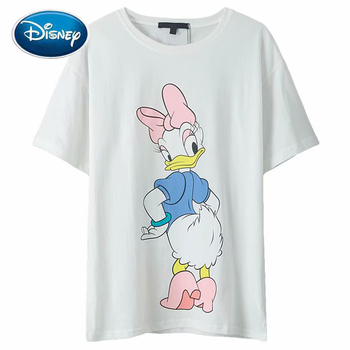 Disney T-Shirt Fashion Front Back Daisy Duck Cartoon Letter Print Sweet Women T-Shirt O-Neck Pullover Short Sleeve White Tee Top twist front plunging t shirt
