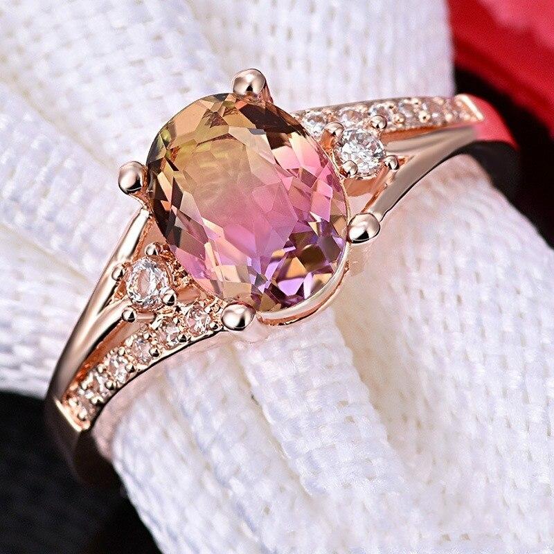 Fashion Women's Ring Elegant Rose Gold Crystal Rhinestones Ring For Women Accessories Bridal Wedding Engagement Jewlery Gift(China)