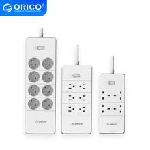 Orico tomada elétrica plugues adaptadores com 5 portas usb carregador 4 6 8 ac portas 2500w saída para uso de escritório em casa