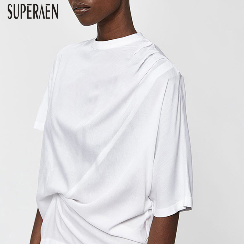 SuperAen Europe T Shirt Women Autumn 2019 New Asymmetric T Shirts Female Wild Solid Color Short-sleeved Ladies Tops
