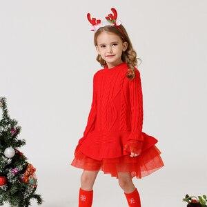 Image 4 - תינוק חם ילדה סרוג שיפון שמלת חג המולד מסיבת חתונת מיני טוטו שמלות חורף ילדי בנות סוודר ילדי בגדי שמלה