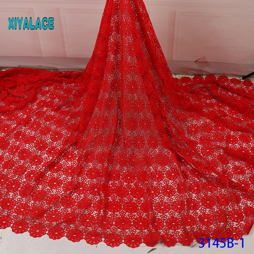 African Lace Fabric Guipure Lace Fabric High Quality Nigerian Cord French Lace Fabric For Wedding Dress 5Yards YA3145B-1