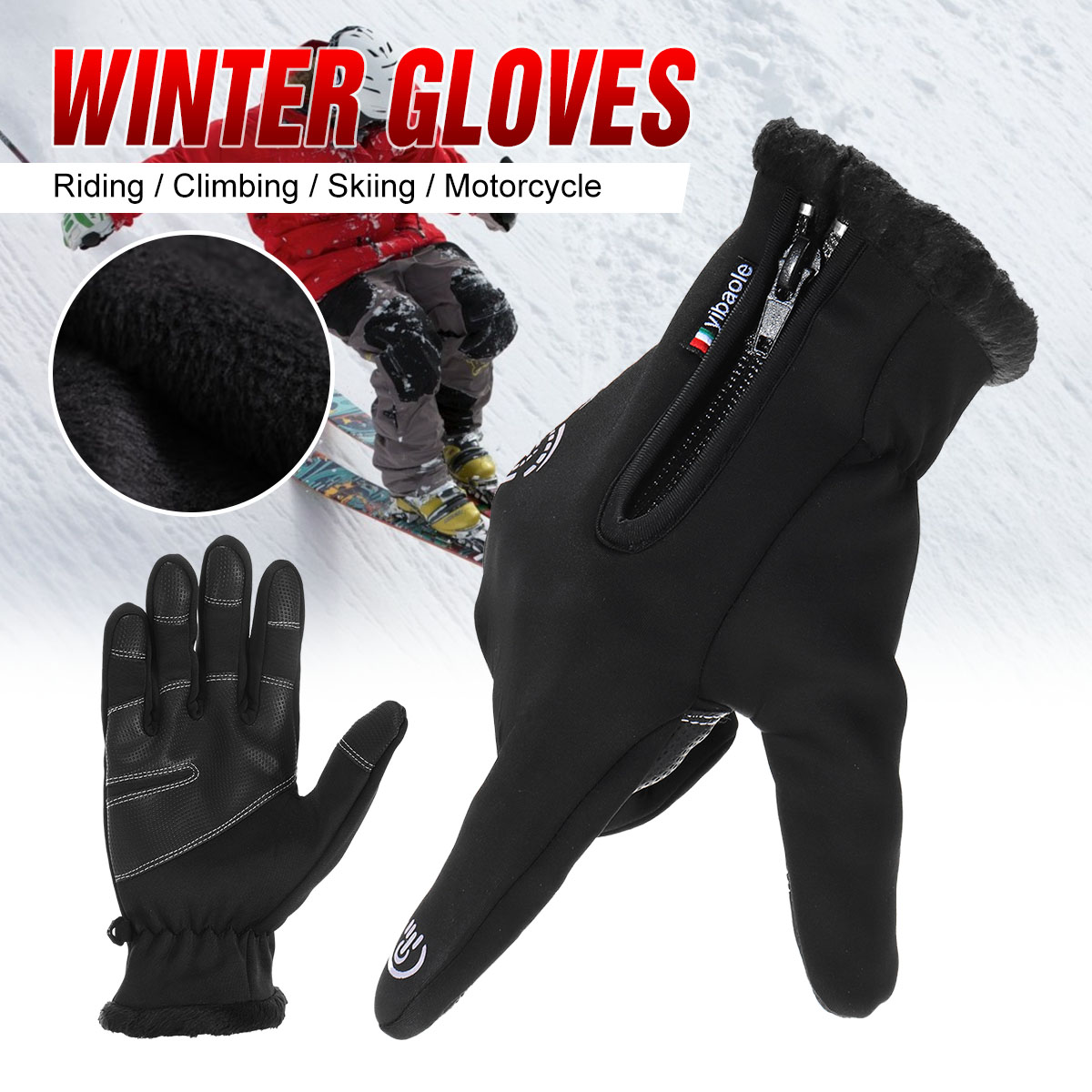 Ski Gloves Waterproof Fleece Thermal Heated Gloves Snowboard Snowmobile Gloves Men Women Winter Gloves For Sonwboarding