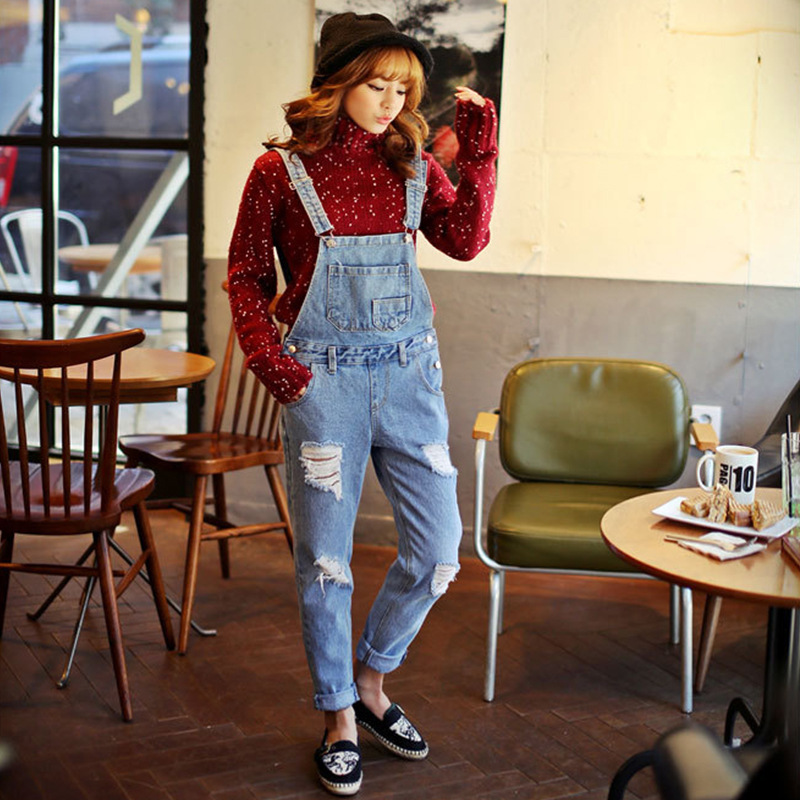 Zi Yi Dark Blue Jeans Korean-style Simple High-waisted Cowboy Suspender Pants With Holes Slim Fit Jeans