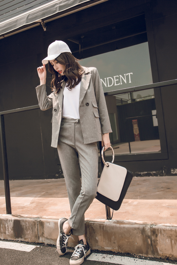 Women Suit Gray Casual Blazer & High Waist Pant Office Lady Notched Jacket Pant Suits Korean Femme 2 Pieces Sets