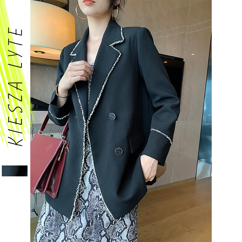 Runway Women Blazer Fashion Double Breasted Long Sleeve OL Lady Casual Black Suit Jacket Coat