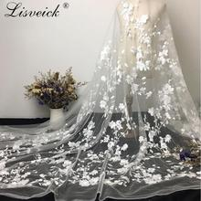 1yard Exquisite mesh polyester yarn Embroidery Net Lace Fabric For dress Cloth French Tulle Wedding Garment Accessories