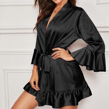 Women Pink Bathrobe Sleepwear Sexy Satin Ruffle Long Sleeve Hem Robe With Belt Nightwear Elegant Womens Bath Robe Bride Kimono