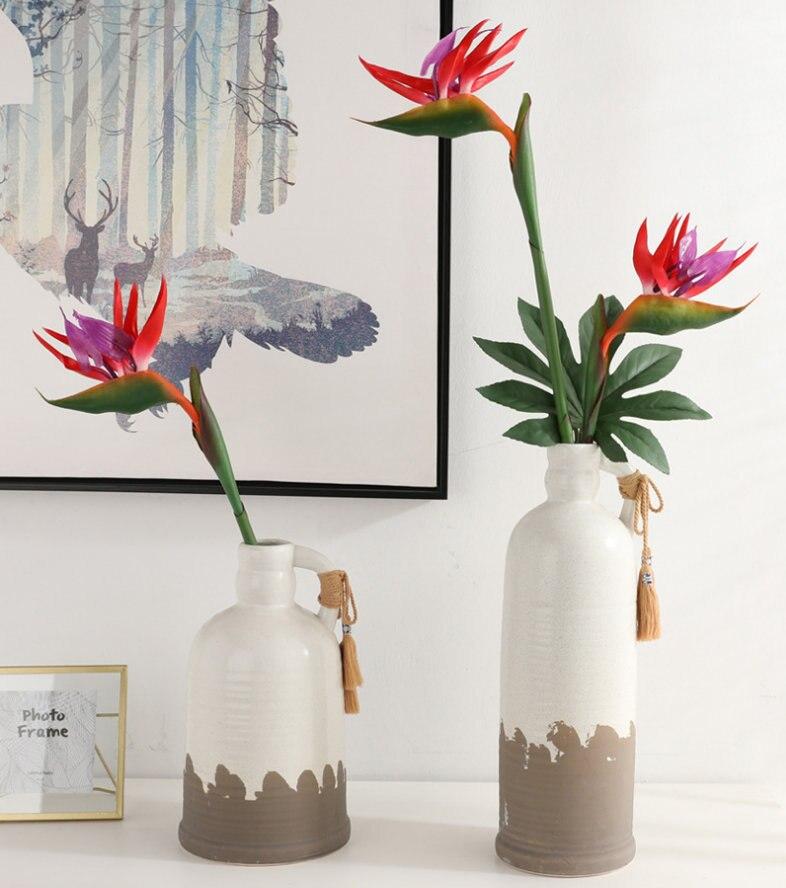 Flores artificiais 80cm, toque real, falsas, plástico tropical, pássaro de parecer, decoração de seda artificial, flores longas, casa