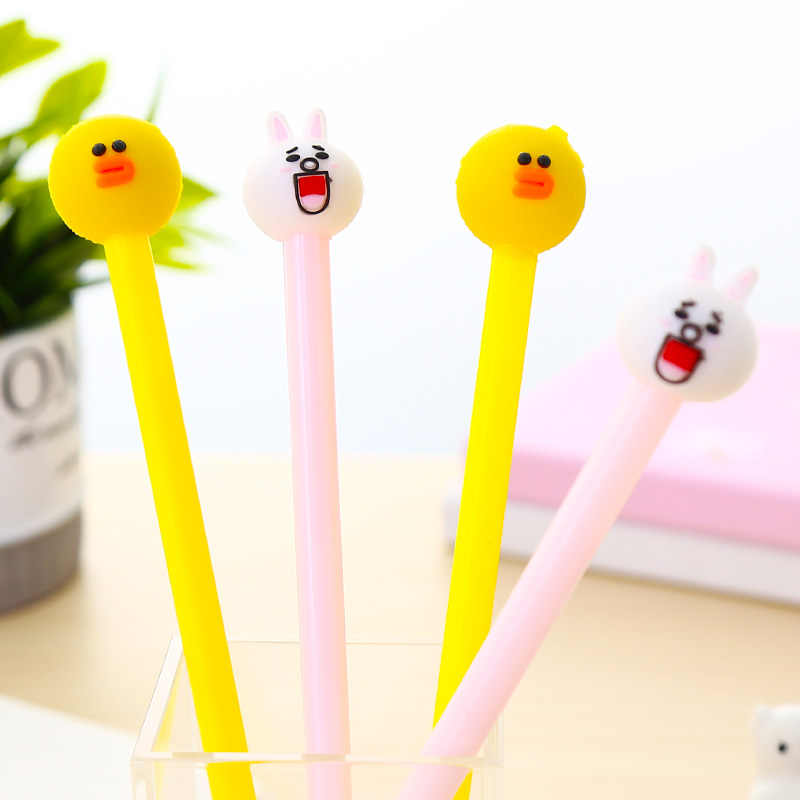 Korean Line Friend Gel Pen Rabbit Kawaii Cartoon Cute Roller Stationery For Novelty Kids School Writing Supplies Accessories Bts