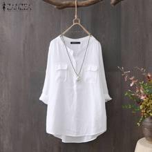 Elegant Button Down Shirts Women's Spring Blouse ZANZEA 2021 Casual V Neck Work Blusas Female Long Sleeve Tops Plus Size Tunic