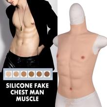 Silikon Künstliche Gefälschte Brust Mann Falsche Muscle Hunk Kostüm Halloween Mann Künstliche Simulation Cosplay Partei Kleid Party