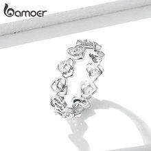 bamoer Rose Flower Stackable Finger Rings for Women Openwork Floral Original Design 925 Sterling Silver Jewelry