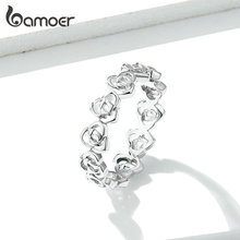 bamoer Rose Flower Stackable Finger Rings for Women Openwork Floral Original Design 925 Sterling Silver Jewelry GAR059