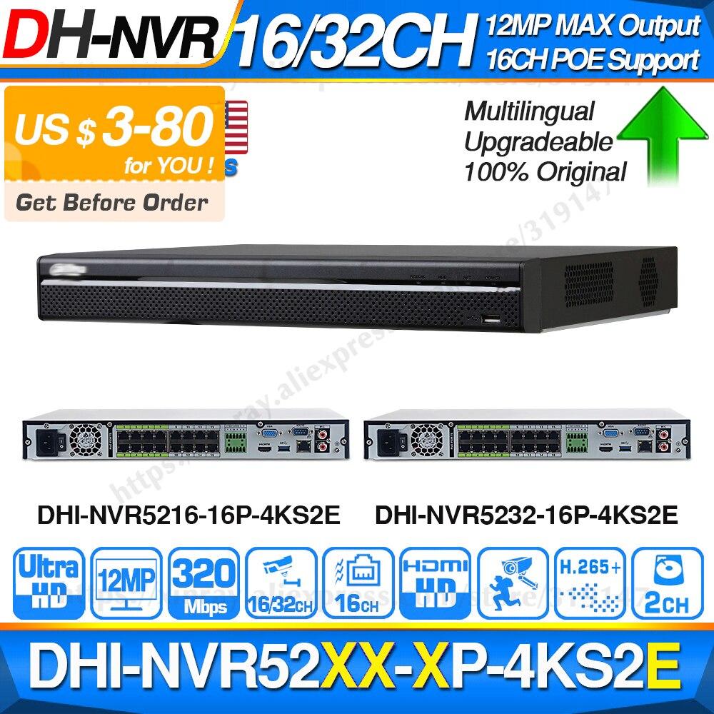 Dahua Original Pro NVR NVR5216-16P-4KS2E NVR5232-16P-4KS2E 16CH PoE Port 8CH 800m E-POE Max 320Mbps Network Video Recorder title=