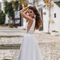 Satin V neck Wedding Dresses 2020 A line Sequins Crystal Backless Sweep Train Button Summer Bridal Gowns Veastido de novia