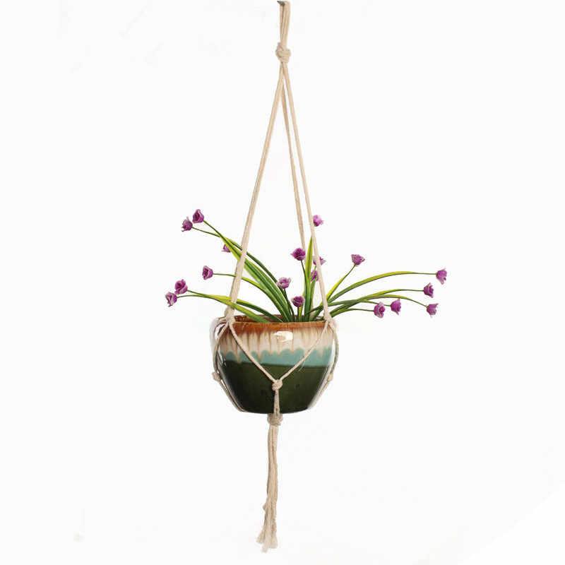 90 センチメートル結び目マクラメ植物ハンガーヴィンテージコットンリネン植木鉢バスケットリフティングロープハンギングバスケットポットホルダーガーデンツール