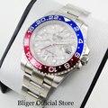 BLIGER механические наручные часы сплав Безель 40 мм нержавеющая сталь часы GMT функция Saphire стекло Дата Окно