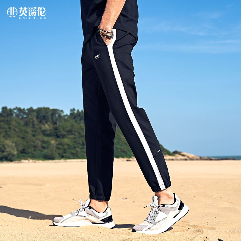 Enjeolon Summer Joggger Pants  Men Patchwork Elastic Waist Sweatpants Sports Mens Trousers Streetwear Clothes Male K6912