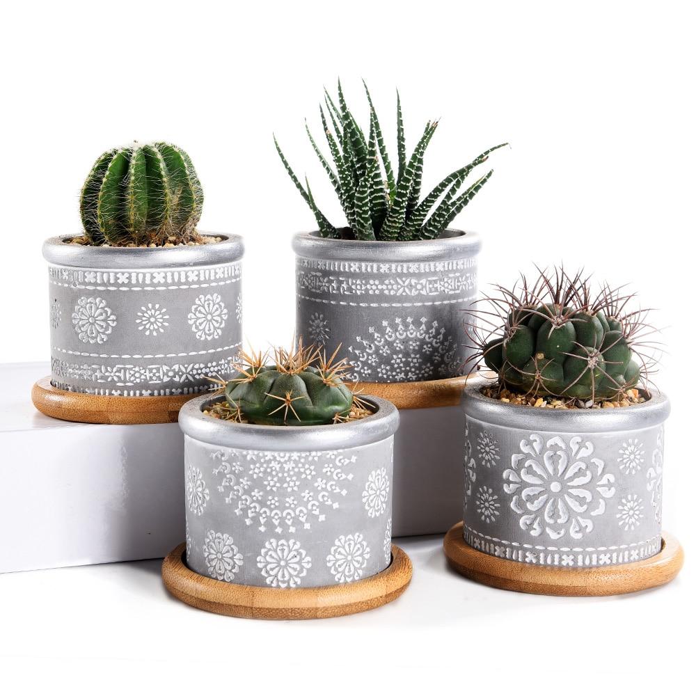 4in Set 2 95inch Cement Succulent Planter Pots Cactus Plant Pot