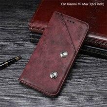 Dla Xiao mi mi Max 3 Case 6.9 cal luksusowe Vintage odwróć PU skóra obudowa do Xiaomi mi Max3 magnetyczny Retro pokrywa z gniazda na kartę