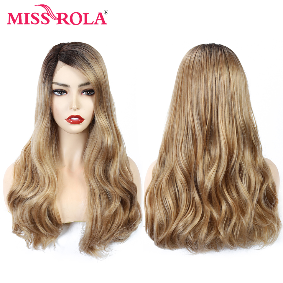 MISS ROLA Ombre Wavy Long Lace Front Black Brown Blonde Wigs Cosplay Synthetic For Women Natural Party False Hair Wigs