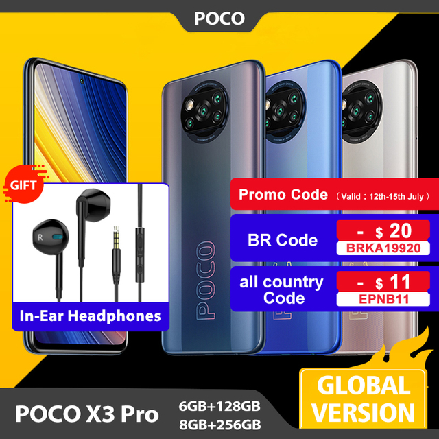Global Version POCO X3 Pro 6GB 128GB / 8GB 256GB Mobile Phone Snapdragon 860 120Hz DotDisplay 732G 48MP Camera 5160 Battery NFC 1