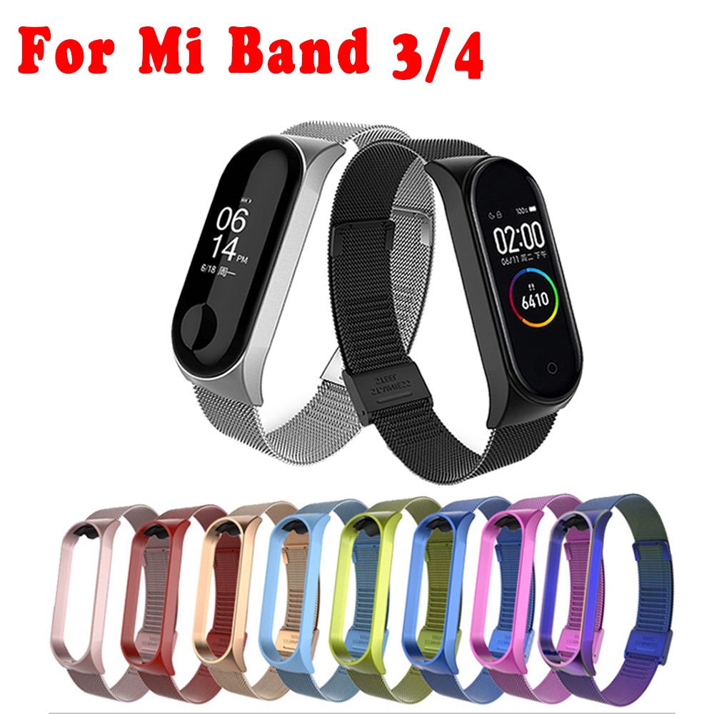 Metal Stainless Steel Strap For Xiaomi Mi Band 4 Wrist Strap For Xiaomi Miband3 Bracelet For Mi Band 4 Strap Wristbands Pulseira