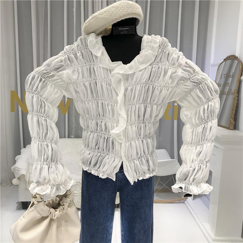 See Through White Shirts Women 2020 New High Street Puff Sleeve Casual Shirts  Ruffled Feminine Clothes Long Sleeve Blouses