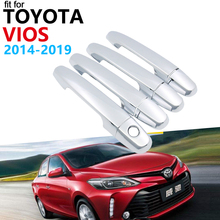 Door Handle Car Accessories for Toyota vios XP150 Limo 2014~2019 Chrome Handle Cover Trim Set Car Stickers 2018 2017 2016 2015
