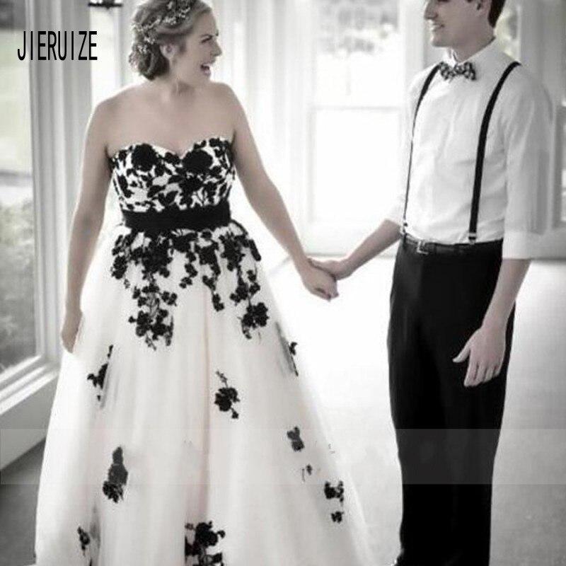 JIERUIZE Sweetheart plus size Abiti Da Sposa Bianco e Nero Del Merletto Appliques Abiti Da Sposa Abiti Da Sposa robe de mariee