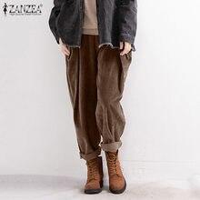 Винтажные вельветовые брюки женские весенние 2021 zanzea с эластичной