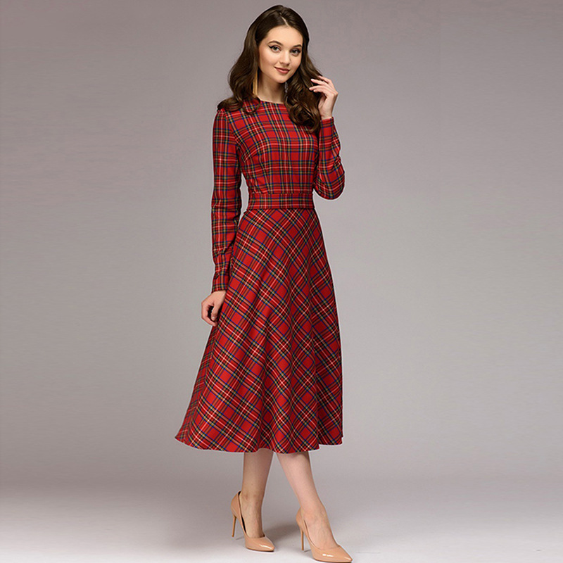 Red Plaid Long Sleeve Bow A-line Long Dress Women Vintage O-neck Slim Dresses Autumn Ladies Elegant Party Dress High Quality New