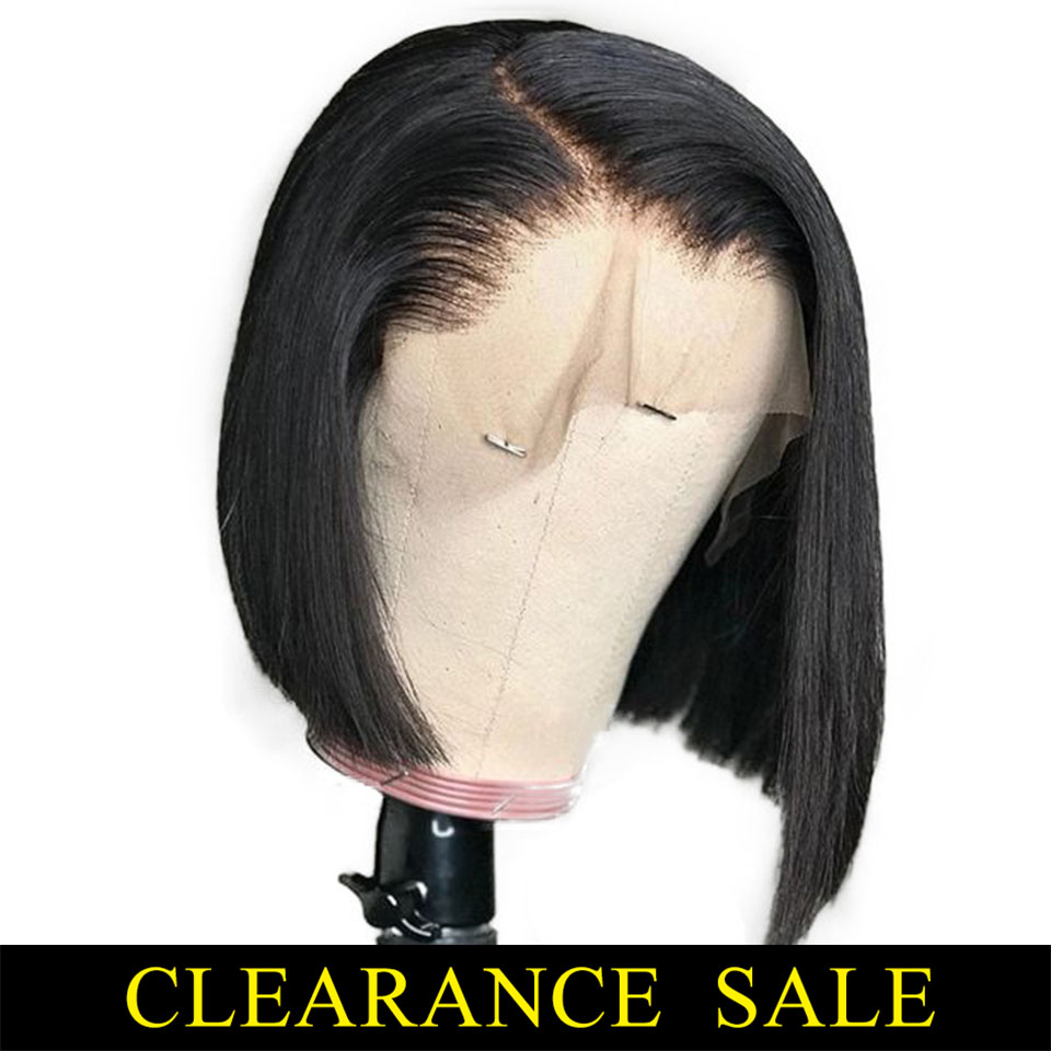 13*4 Short Lace Front Human Hair Wigs Bob Wig For Black Women Brazilian Natural Straight Afro Swiss Lace Frontal Wig Pre Plucked