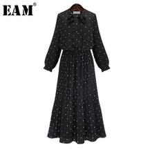 [EAM] 2017 nuovo autunno girocollo manica lunga nero solido chiffon dot vestito allentato grande formato le donne della moda marea JA23601M