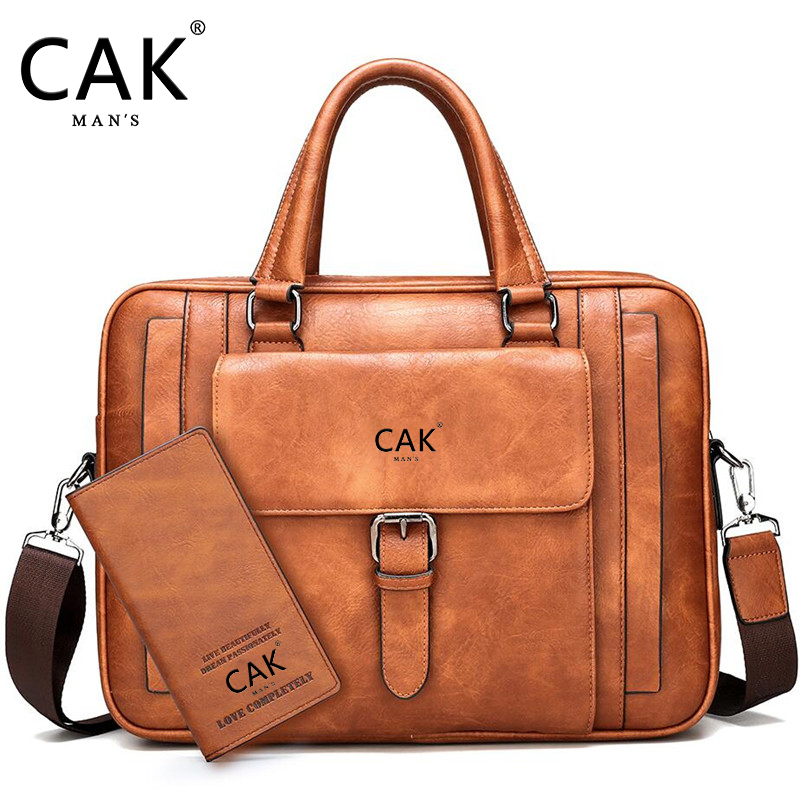 CAK Brand Bag Men's Big Size Briefcase Male Man Laptop Bag Split Leather For Men Messenger Bags Men's Briefcases Business Black