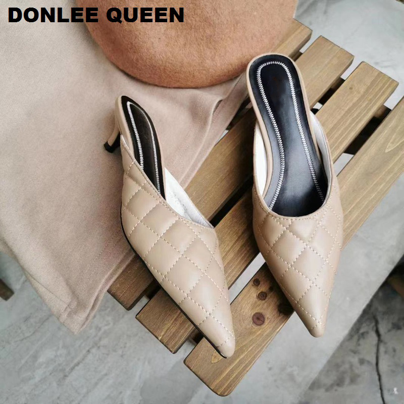 Thin Med Heel Slippers Pointed Toe Shoes Woman Elegant Mules Shoes Brand Embroidery Heel Outdoors Slides Women Slipper For Party