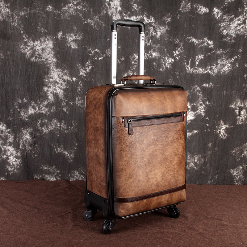 MAHEU Vintage Genuine Leather Travel Rolling Case Men Women Leather Trolley Case Mute Function Universal Wheel Travel Luggage
