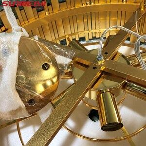 Image 3 - 럭셔리 LED 크리스탈 샹들리에 조명 부엌 거실 로프트 매달려 체인 북유럽 골드 샹들리에 침실 램프 기사