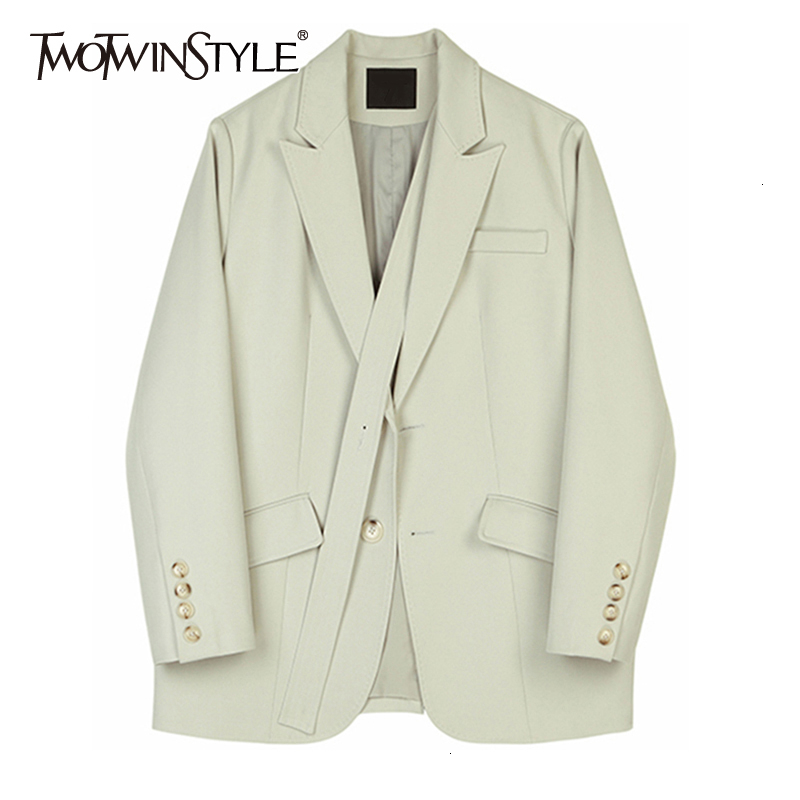 TWOTWINSTYLE Women Bandage Temperament Spliced Blazer New Lapel Long Sleeve Loose Fit Jacket Fashion Tide Spring Autumn 2020