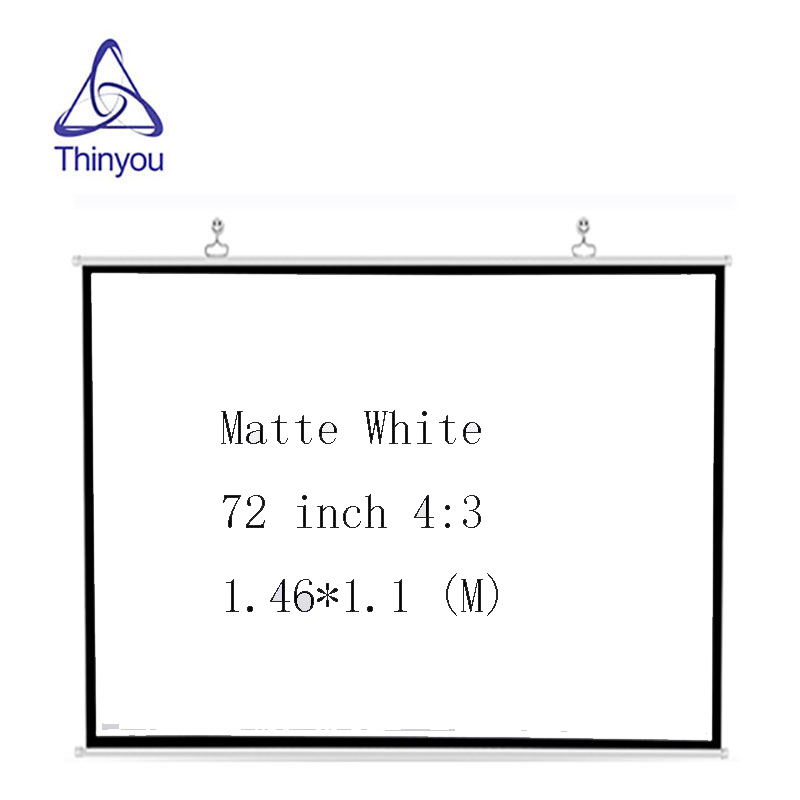 Thinyou Portable Projector Screen 72 inch 4:3 HD Matte White screen projector Manual Pull Down ecran de projection beamer