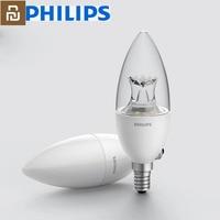 Youpin Philips-Lámpara LED inteligente con forma de vela, Bombilla E14 de 3,5 W, 0.1A, 220-240V, 50/60Hz, Wifi, Control remoto, decoración por aplicación Mihome
