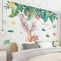[shijuekongjian] Deer Rabbit Animal Wall Stickers DIY Green Leaves Wall Decals for House Kids Rooms Baby Bedroom Decoration