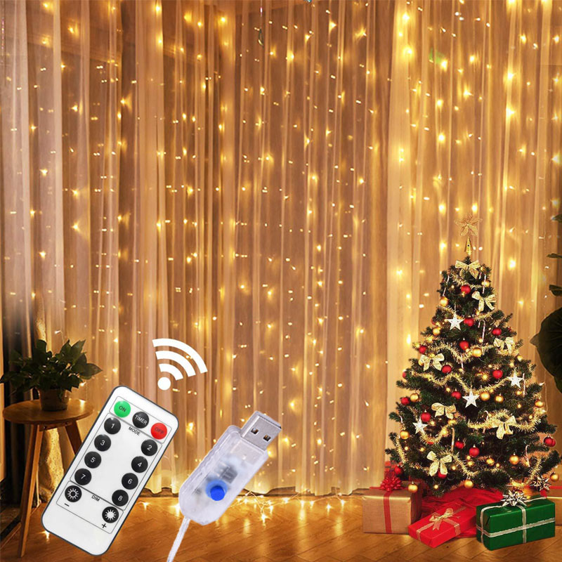 3M USB Power Remote Control LED Curtain Fairy Lights Christmas Garland Copper Wire Lights For New Year Christmas Bedroom Home