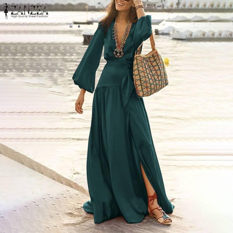 Bohemia playa vestido largo ZANZEA 2021 elegante de las mujeres cuello profundo en V de manga larga Maxi vestido de primavera Casual dividido bajo parte Vestidos