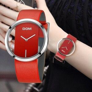 Image 1 - 女性 Dom ブランドの高級ファッションカジュアルユニークな女性腕時計レザークォーツ防水スタイリッシュなレロジオ feminino 205