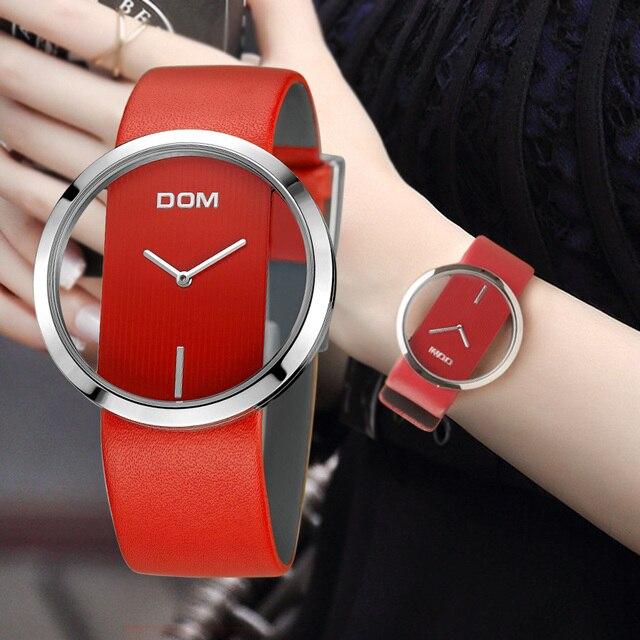 女性 Dom ブランドの高級ファッションカジュアルユニークな女性腕時計レザークォーツ防水スタイリッシュなレロジオ feminino 205