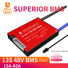 Batería de polímero de litio 18650, 13S, BMS, 48V, 30ah, 40ah, 50ah, 60ah, 3,7 v, Sensor de temperatura de equilibrio de protección de Pcb celular opcional para scooter