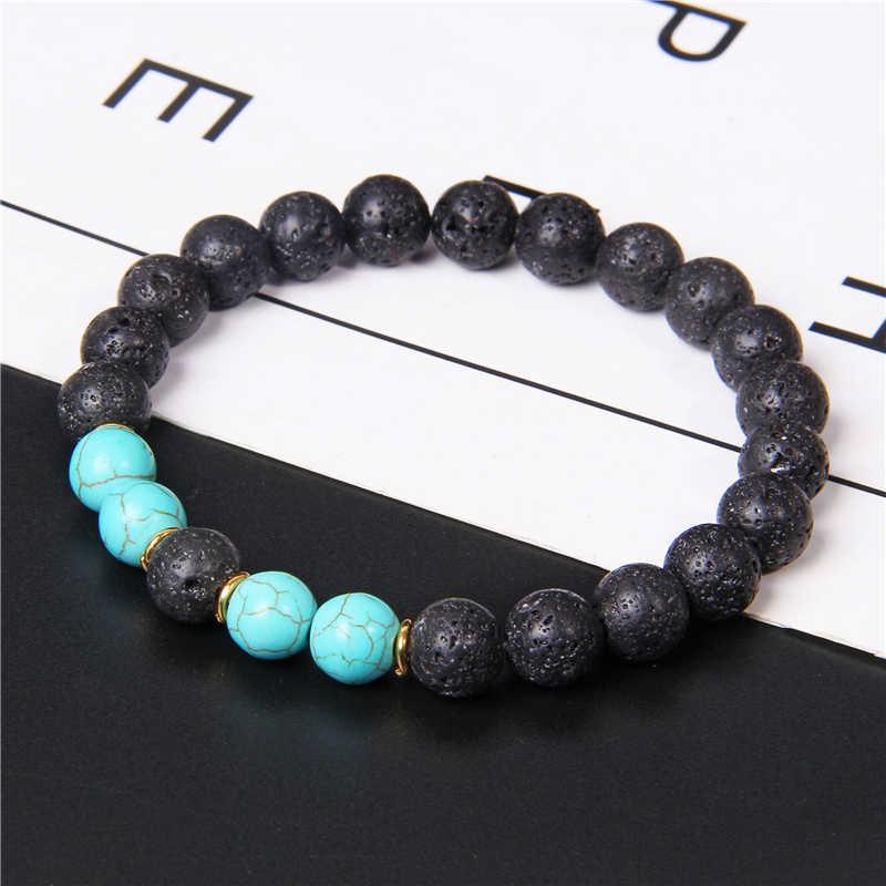 Vintage Wit Turkoois Howliet Kralen Armband 8 Mm Natuurlijke Zwarte Lava Vulkanische Kralen Armband Energie Sieraden Mannen Vrouwen